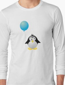 Penguin with Blue Balloon Long Sleeve T-Shirt