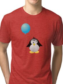 Penguin with Blue Balloon Tri-blend T-Shirt