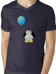 Penguin with Blue Balloon Mens V-Neck T-Shirt