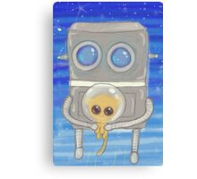 Robot Flies Kitty To Space Canvas Print