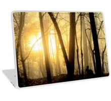 Nibbling Bunny Meets Morning Sun in Foggy Forest Laptop Skin