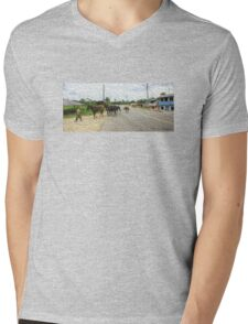 Man with horses Mens V-Neck T-Shirt