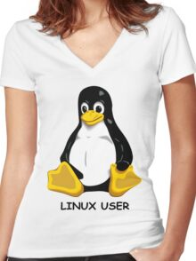 Linux User Women's Fitted V-Neck T-Shirt