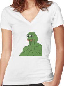 pepe da frog Women's Fitted V-Neck T-Shirt
