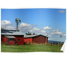 Red Sheds & Windmills Poster