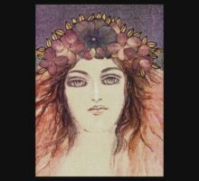 MYSTIC EYES - BEAUTIFUL ART NOUVEAU WOMAN with Flowers in the Hair T-Shirt