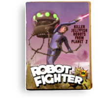 Robot Fighter Fake Pulp Cover Canvas Print