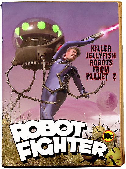 Robot Fighter Fake Pulp Cover by mdkgraphics