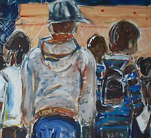 Rollerbladers at the Plinth by Fran Webster