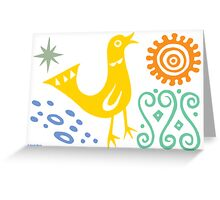 Bird Delight Card - golden Greeting Card