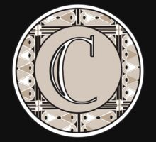 1920s Pink Champagne Gatsby Monogram letter C Kids Clothes