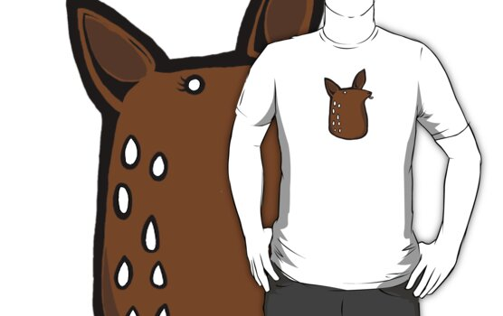 Licky Deer Head (white tee) by lauriepink