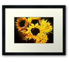 Sunflowers on Fire Framed Print