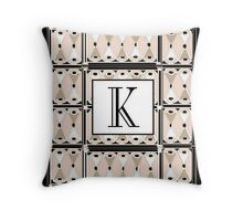 1920s Pink Champagne Gatsby Monogram letter K Throw Pillow