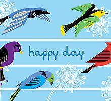Five Royal Birds - Card by Andi Bird