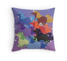 My Little Primal Ponies Throw Pillow