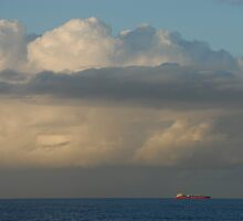 A passing ship, Currimundi, Queensland by Richard  Stanley