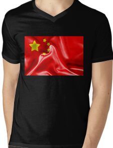 China Flag Mens V-Neck T-Shirt