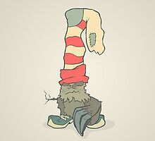 Vector illustration monster with a sock or stocking on his head by AndrewBzh