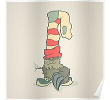 Vector illustration monster with a sock or stocking on his head Poster