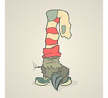 Vector illustration monster with a sock or stocking on his head Photographic Print