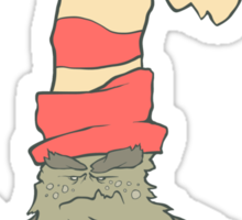Vector illustration monster with a sock or stocking on his head Sticker