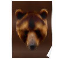 Pixel Brown Bear Poster
