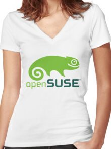 openSUSE Women's Fitted V-Neck T-Shirt