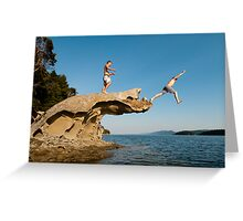 Leap of Faith: campbell Bay, Mayne Island Greeting Card