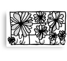 BW Flowers in Glass Canvas Print