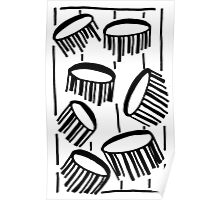 BW Drum Fronds Poster