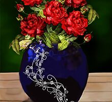 blue vase with roses by cynthiab