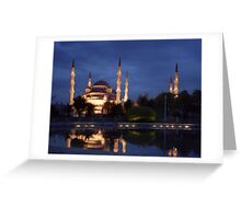 Istanbul Blue mosque at night Greeting Card
