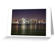 Lights of Manhattan at night reflecting in the Hudson river Greeting Card