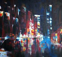 New York 2009. Abstract Skyline Painting by Samuel Durkin
