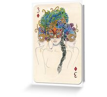 3 of Diamonds Greeting Card