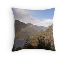Rainbow over the dam Throw Pillow