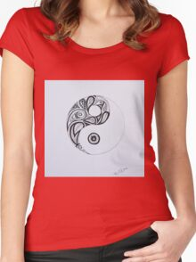 Patterned Yin Yang Women's Fitted Scoop T-Shirt