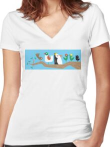 Birds in a Tree Women's Fitted V-Neck T-Shirt