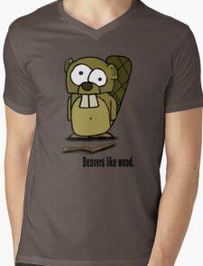 Beavers like wood. Mens V-Neck T-Shirt