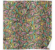 Modern boho botanical floral paisley pattern  Poster