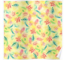 Summer pink yellow romantic floral watercolor Poster