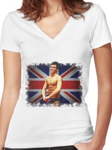 Tom Daley and Union Jack Women's Fitted V-Neck T-Shirt