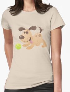 Playful Puppy Womens Fitted T-Shirt