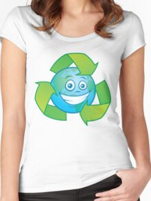 Planet Earth Recycle Cartoon Character Women's Fitted Scoop T-Shirt