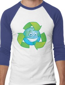 Planet Earth Recycle Cartoon Character Men's Baseball ¾ T-Shirt