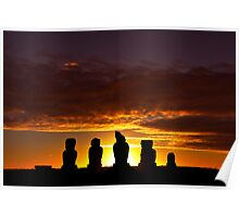 Easter Island Heads at Sunset Poster
