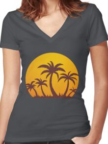 Palm Trees and Sun Women's Fitted V-Neck T-Shirt