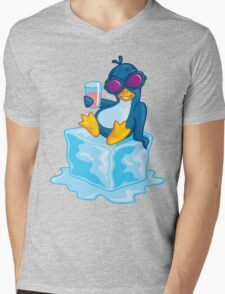 Penguin On Ice Mens V-Neck T-Shirt