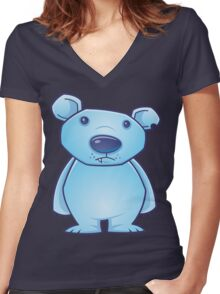 Polar Bear Cub Women's Fitted V-Neck T-Shirt